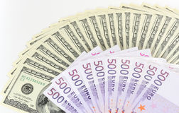 Dollari. Euro. Fotografie Stock