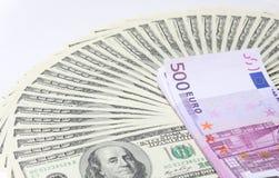 Dollari. Euro. Immagini Stock Libere da Diritti