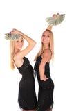 Dollari gemellare di ondeggiamento delle ragazze Immagini Stock Libere da Diritti
