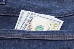 Dollari nei jeans Fotografia Stock