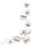 Dollari nel blocco per grafici delle bolle Fotografia Stock
