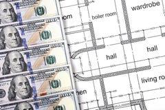 Dollari nel disegno di costruzione Immagini Stock