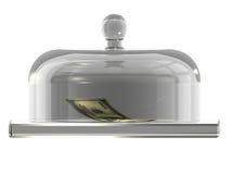 Dollari nell'ambito del coperchio di vetro Fotografia Stock