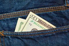 Dollari nella casella posteriore dei jeans Fotografia Stock Libera da Diritti