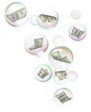 Dollari nelle bolle Immagini Stock