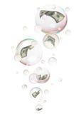 Dollari nelle bolle Fotografia Stock Libera da Diritti