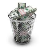 Dollari nello scomparto di rifiuti Fotografia Stock Libera da Diritti
