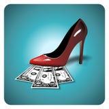 Dollari sotto uno stiletto rosso Fotografia Stock