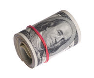 Dollari su fondo bianco Fotografia Stock