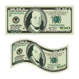 100 dollari su priorità bassa bianca Soldi isolati Contanti degli Stati Uniti Fotografia Stock