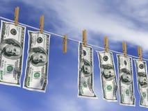 Dollari su una corda Fotografia Stock Libera da Diritti