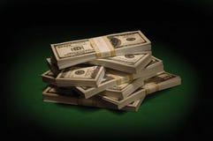 Dollari su verde Fotografia Stock Libera da Diritti