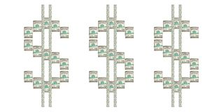 Dollari torti su un fondo bianco Fotografie Stock Libere da Diritti