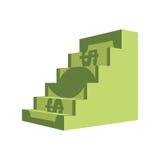 Dollarleiter Schritte aus Geld heraus Aufstieg zum Reichtum Geschäft I Stockfoto
