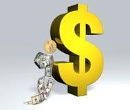 Dollarmann steht zum Dollarsymbol still stock abbildung