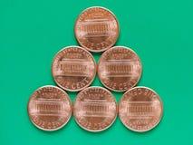 Dollarmuntstuk - 1 cent Stock Foto's