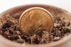 Dollarmuntstuk in de grond Stock Afbeeldingen