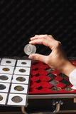 Dollarmuntstuk in de vrouwen` s hand Stock Afbeelding