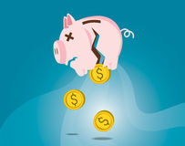 Dollarmuntstukken die uit van gebroken spaarvarken dalen Failliete concep Royalty-vrije Stock Afbeelding