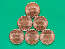 Dollarmynt - 1 cent Arkivfoton