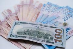 Dollarna och rublen ?gander?tt f?r home tangent f?r aff?rsid? som guld- ner skyen till arkivbild