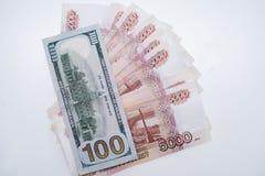 Dollarna och rublen ?gander?tt f?r home tangent f?r aff?rsid? som guld- ner skyen till royaltyfri fotografi
