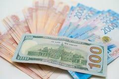 Dollarna och rublen ?gander?tt f?r home tangent f?r aff?rsid? som guld- ner skyen till arkivfoton