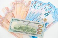 Dollarna och rublen ?gander?tt f?r home tangent f?r aff?rsid? som guld- ner skyen till royaltyfri bild