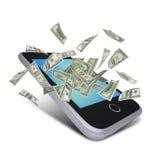 Dollarnota's die rond de slimme telefoon vliegen Royalty-vrije Stock Afbeeldingen