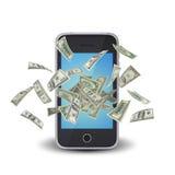 Dollarnota's die rond de slimme telefoon vliegen Stock Foto