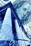 Dollaro americano, codice binario e colonna fotografia stock