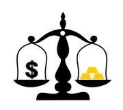 Dollaro americano come moneta inconvertibile contro il lingotto dorato fatto di oro illustrazione vettoriale