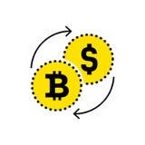 Dollaro astratto del segno all'icona di scambio del bitcoin Progettazione piana Vector il fondo bianco isolato illustrazione per  Immagini Stock Libere da Diritti