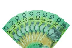 Dollaro australiano, fondi dell'Australia 100 dollari di pila delle banconote su fondo bianco Fotografia Stock Libera da Diritti