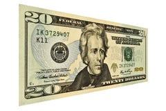 Dollaro Bill degli Stati Uniti venti Fotografia Stock Libera da Diritti
