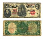 Dollaro Bill dell'annata cinque nella valuta degli Stati Uniti Fotografia Stock