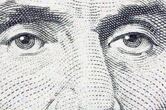 Dollaro Bill estremo degli Stati Uniti cinque di macro degli occhi di Lincoln Fotografia Stock Libera da Diritti