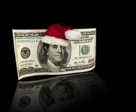 Dollaro Bill Santa Hat degli Stati Uniti cento Fotografie Stock