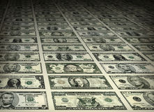 Dollaro Bill Sheets delle denominazioni assortite Fotografie Stock