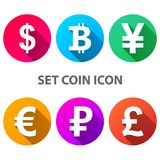 Dollaro, Bitcoin, Yen, euro icona della sterlina della rublo Immagine Stock Libera da Diritti