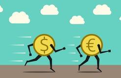 Dollaro che sorpassa euro Fotografie Stock Libere da Diritti