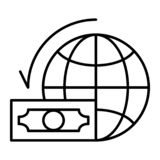 Dollaro con la linea sottile icona del globo del mondo Illustrazione di vettore del pianeta e dei soldi isolata su bianco Profilo royalty illustrazione gratis