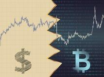 Dollaro contro bitcoin Immagini Stock