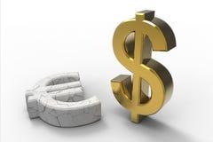 Dollaro contro l'euro Fotografia Stock Libera da Diritti