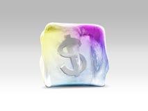 Dollaro in cubetto di ghiaccio Fotografia Stock Libera da Diritti