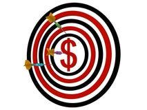 Dollaro del Dartboard con i dardi Fotografie Stock Libere da Diritti