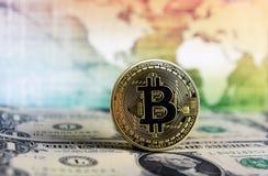 Dollaro del mondo di Bitcoin fotografia stock libera da diritti