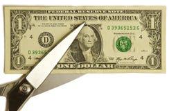Dollaro del taglio delle forbici Fotografie Stock