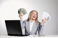 Dollaro della donna di affari in mani Fotografia Stock Libera da Diritti