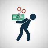 Dollaro della fattura di crisi finanziaria dell'uomo della siluetta Fotografia Stock